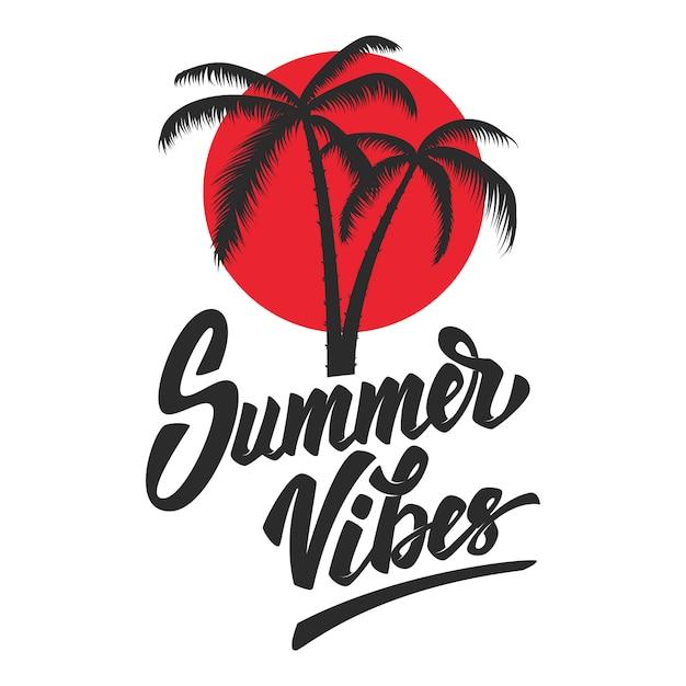 Vibes do verão. frase de letras com palm Vetor Premium
