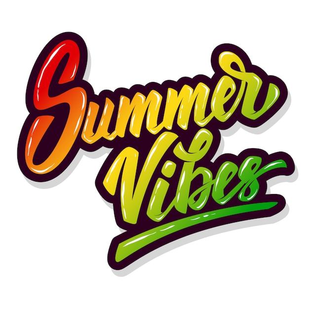 Vibes do verão. mão desenhada letras frase sobre fundo branco. elemento para cartaz, folheto. ilustração Vetor Premium