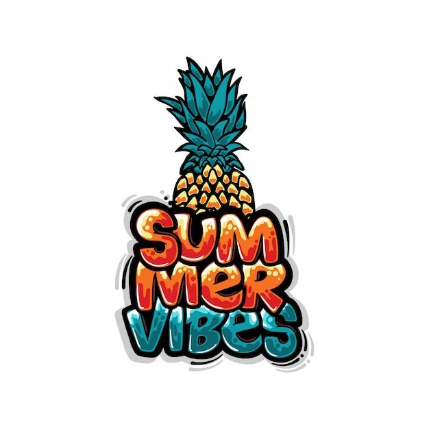 Vibrações de verão de design de camiseta com ilustração de graffiti de abacaxi Vetor Premium