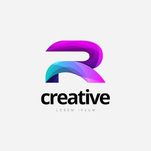 Vibrante na moda colorida criativa letra r logotipo Vetor Premium
