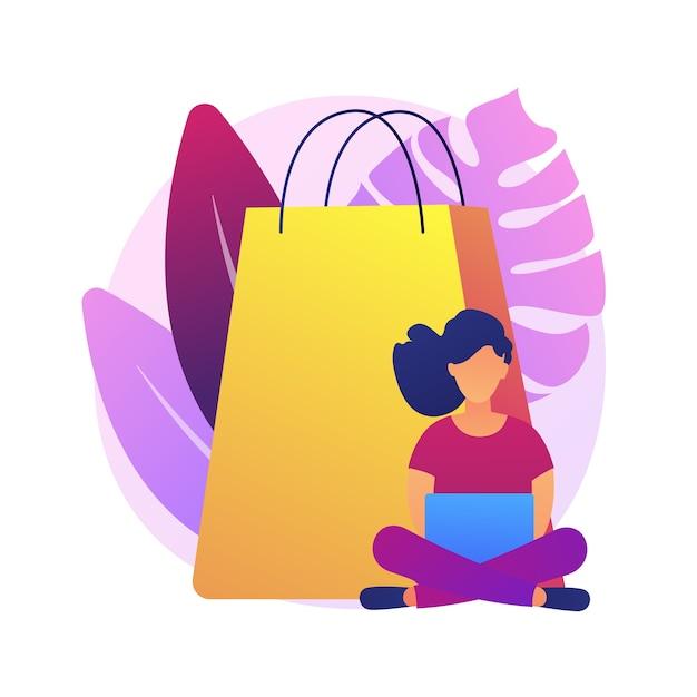 Vício em compras pelo celular. grande venda, atacado online, elemento de design de ideia esgotada de baixo preço. cliente da loja digital, shopaholic segurando smartphone. Vetor grátis