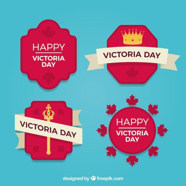 Victoria dia lable coleção com coroa e cetro Vetor grátis