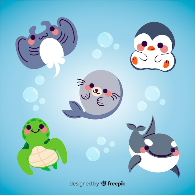 Vida aquática de animais fofos com blushes Vetor grátis