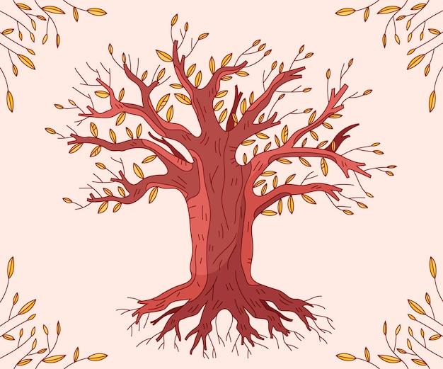 Vida em árvore desenhada à mão na temporada de outono Vetor grátis