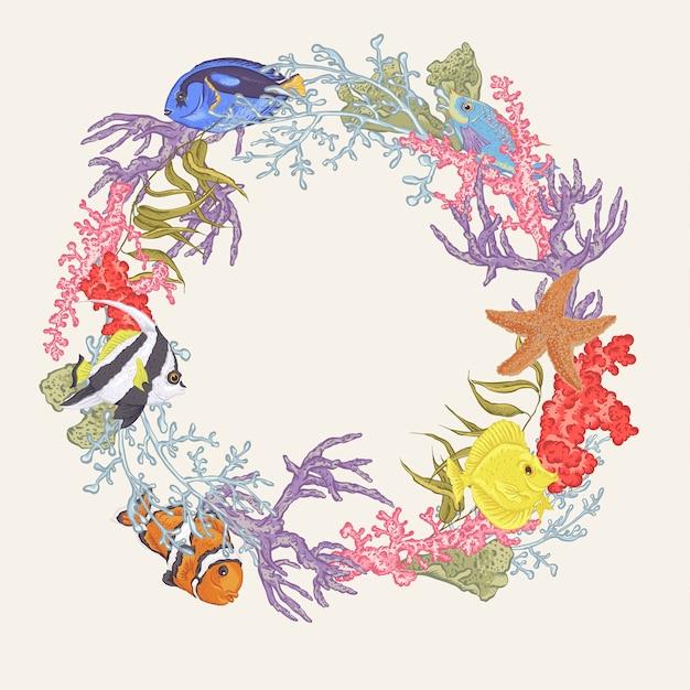 Vida marinha, vindima, redondo, quadro, com, peixe, e, alga Vetor Premium