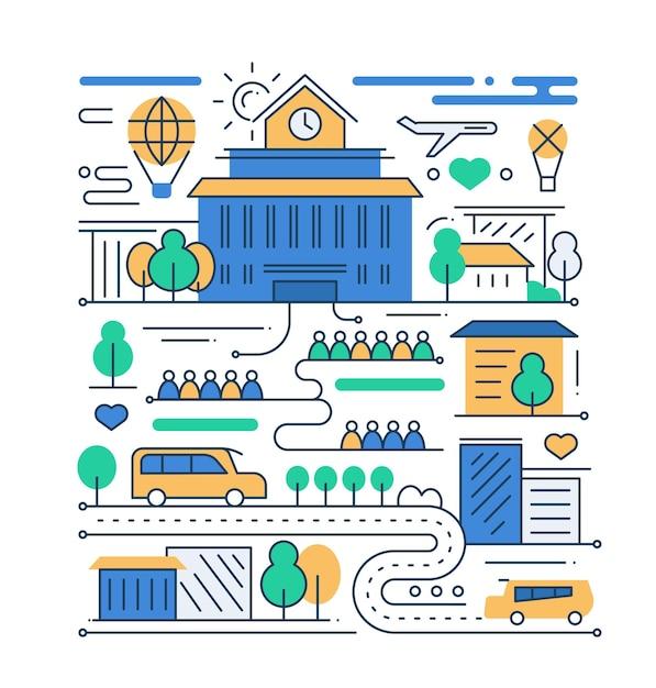 Vida na cidade - composição urbana de design plano de linhas modernas com prédio escolar e pessoas Vetor Premium
