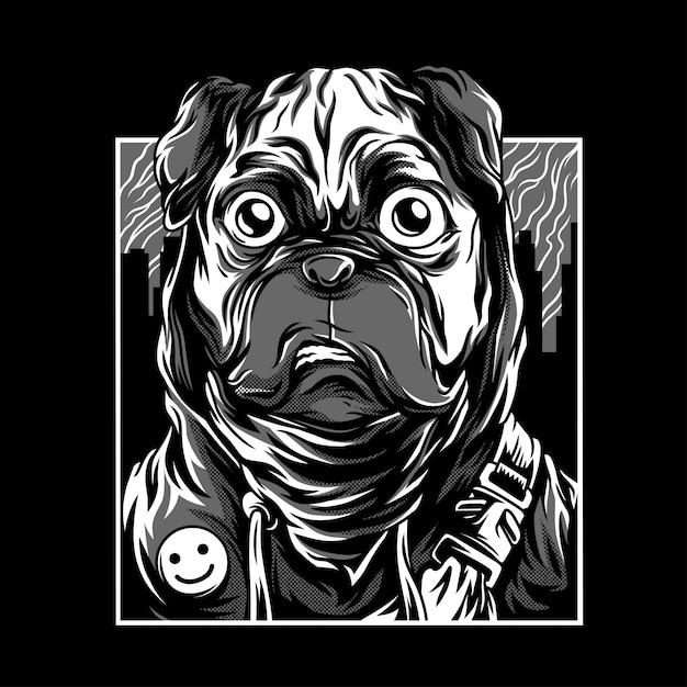 Vida pug preto & branco ilustração Vetor Premium