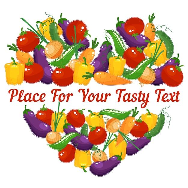 Vida saudável. coração vetorial feito de vegetais com espaço para texto Vetor grátis