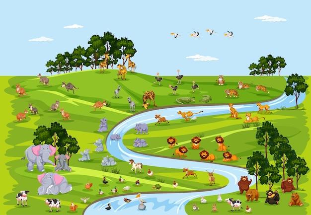 Vida selvagem ou animal selvagem na cena da natureza Vetor grátis