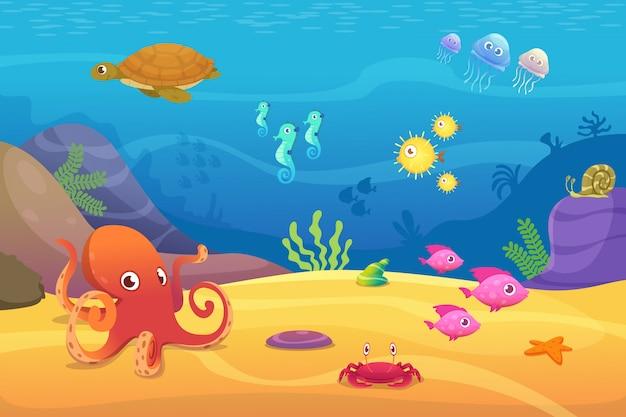 Vida subaquática. aquário dos desenhos animados peixes oceano e mar animais ilustração Vetor Premium