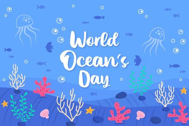 Vida subaquática mão desenhada oceanos dia Vetor Premium