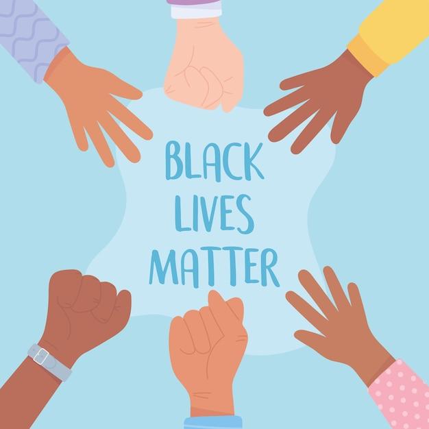 Vidas negras importam bandeira de protesto, campanha de conscientização dos direitos humanos dos negros contra a discriminação racial Vetor Premium