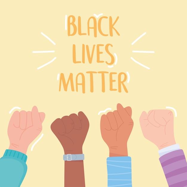 Vidas negras importam bandeira para protesto, mãos levantadas apoiam campanha de conscientização contra a discriminação racial Vetor Premium