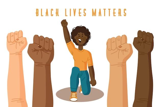 Vidas negras importam conceito ilustrado Vetor Premium