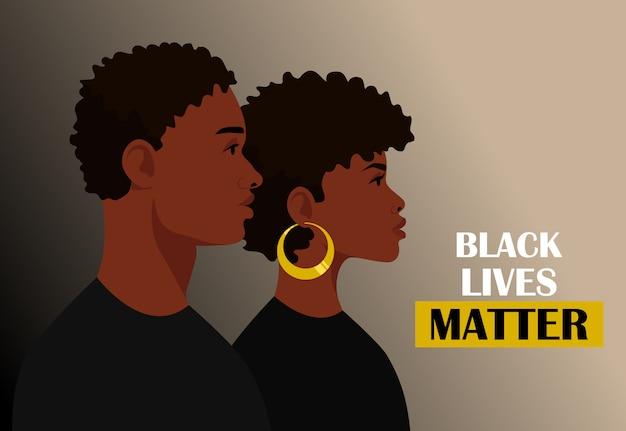 Vidas negras importam, isoladas. jovens afro-americanos: homem e mulher contra o racismo. cidadãos negros estão lutando pela igualdade. Vetor Premium