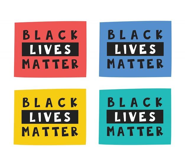 Vidas negras são importantes. texto, letras, moto em retângulos diferentes. cultura afro-americana. direitos humanos. posição social ativa. ilustração plana, ícone, etiqueta. isolado no fundo branco Vetor Premium
