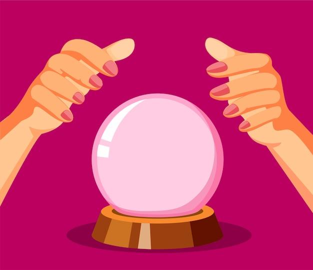 Vidente. mão com conceito de bola de cristal na ilustração dos desenhos animados Vetor Premium