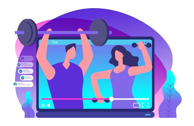 Vídeo ao vivo de esporte. ilustração de blogueiros de esportes Vetor Premium