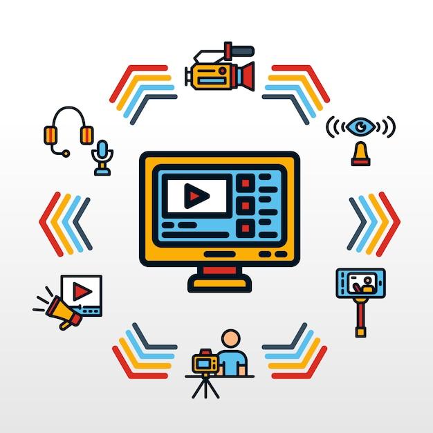 Vídeo blogger infográfico com retro ícone temático Vetor Premium