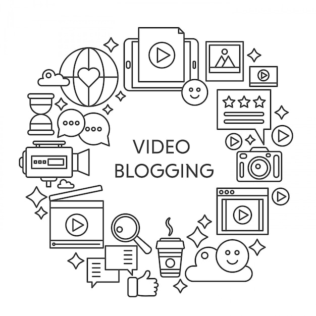 Vídeo blogging linha fina ilustração vetorial conceito. cartaz de contorno de acidente vascular cerebral, modelo para web. Vetor Premium