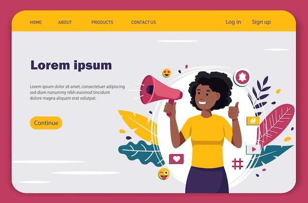 Vídeo blogueira afro-americana fazendo anúncios com um megafone, página de destino Vetor Premium