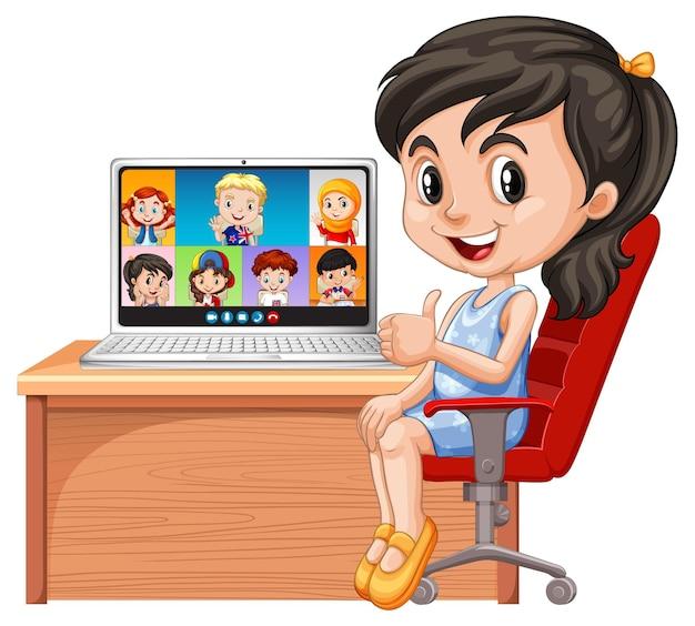 Vídeo chat de meninas com amigos em fundo branco Vetor grátis