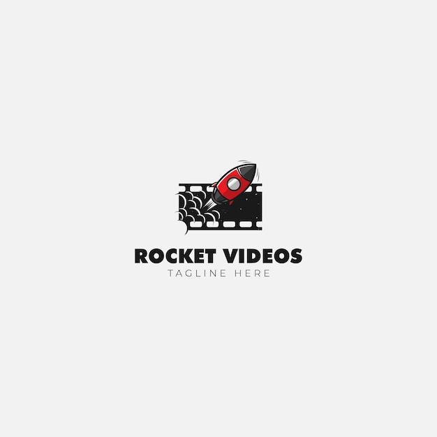 Vídeo do rocket movie logo Vetor Premium
