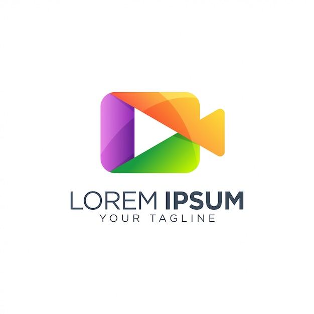 Vídeo jogar modelo de design de logotipo vector isolado Vetor Premium