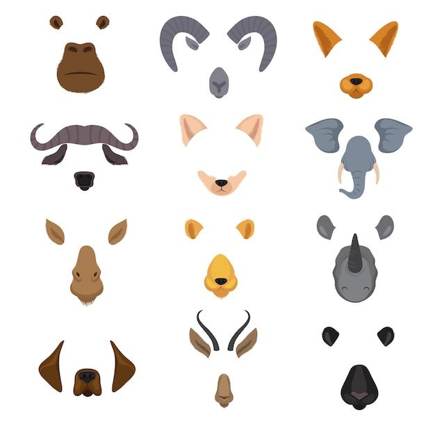 Vídeo móvel bate-papo animal rostos. conjunto de vetores isolados de máscaras de animais dos desenhos animados Vetor Premium
