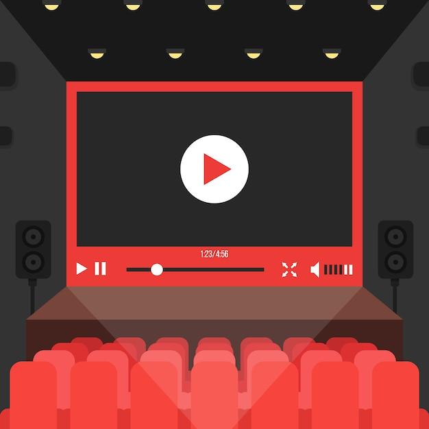 Vídeo online no cinema Vetor Premium