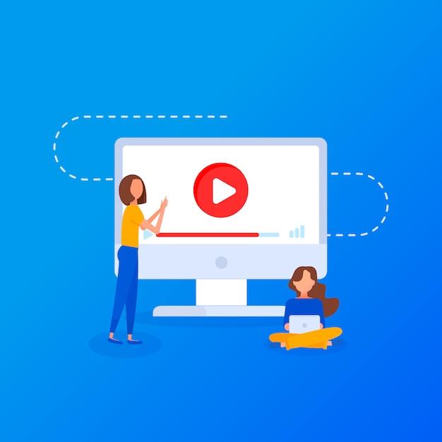 Vídeo tutorial. conceito educação, formação on-line, internet estudando, design plano Vetor Premium
