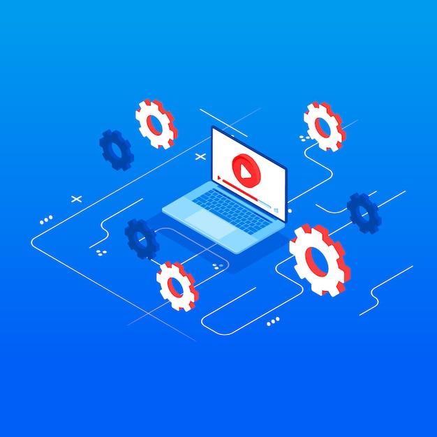 Vídeo tutorial. ilustração conceitual para web e design gráfico, marketing. Vetor Premium