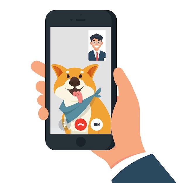 Videochamada com cachorro / animal de estimação Vetor Premium