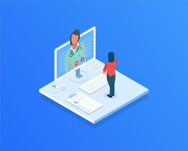 Videochamada com médico Vetor Premium