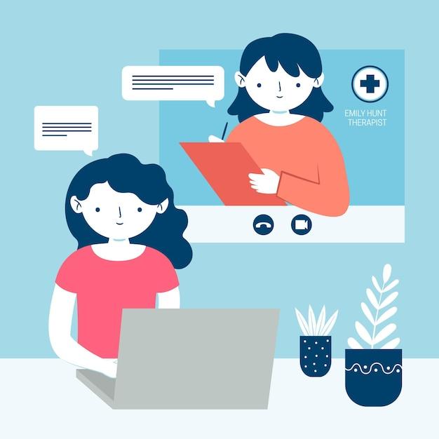 Videochamada e conversa com o terapeuta Vetor Premium