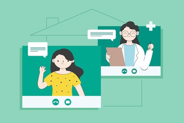 Videochamadas e converse com o terapeuta on-line Vetor grátis