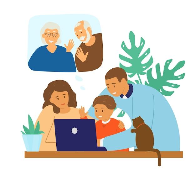 Videoconferência familiar. comunicação online. Vetor Premium