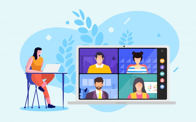 Videoconferência Vetor Premium