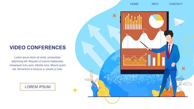 Videoconferências da ilustração da bandeira. Vetor Premium