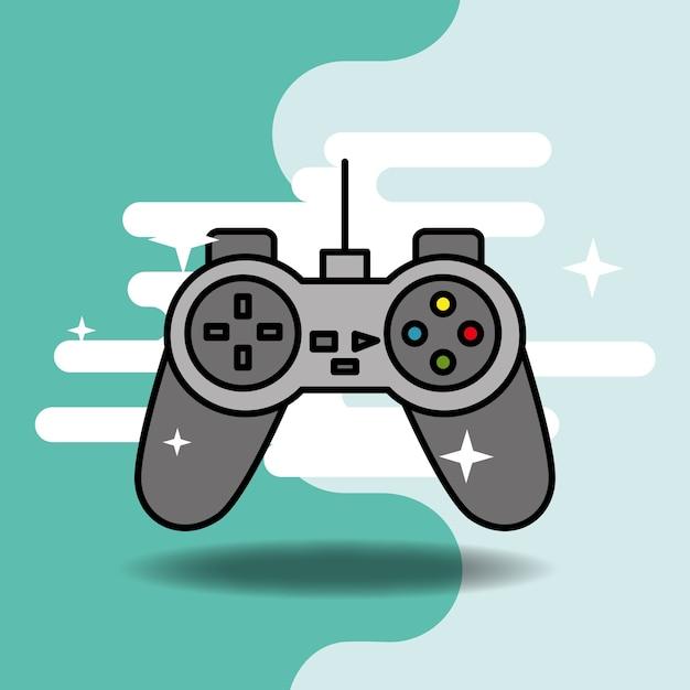 Videogame clássico jogo de vídeo controlador Vetor Premium