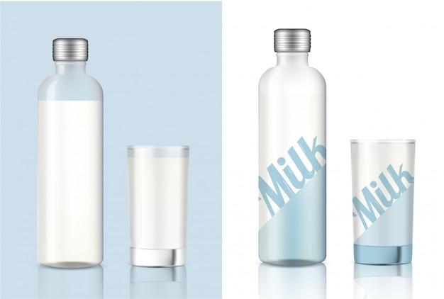 Vidro de leite transparente realista para produtos alimentares e bebidas Vetor Premium