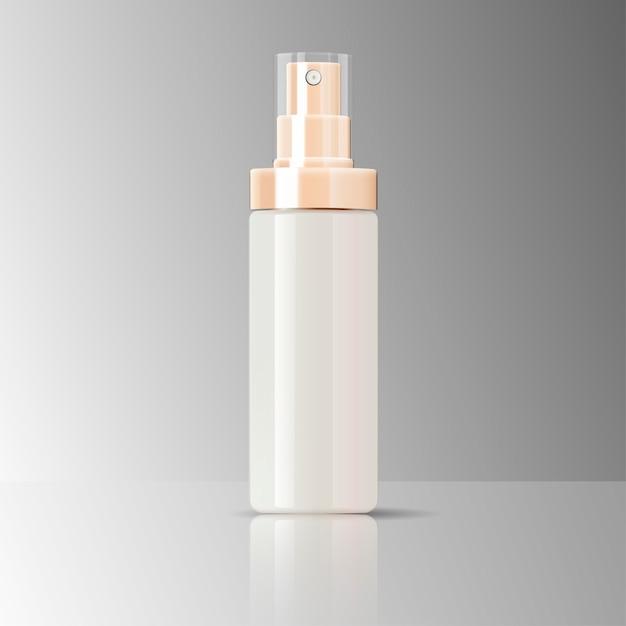 Vidro lustroso do recipiente do pulverizador da garrafa dos cosméticos Vetor Premium