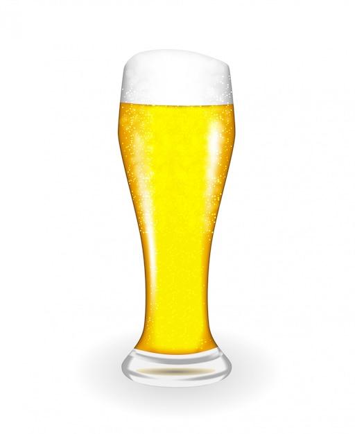 Vidro naturalista com cerveja fresca luz fria em incrustações altas Vetor Premium