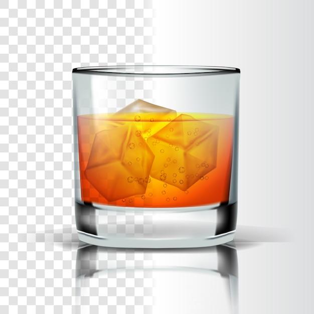 Vidro realista com cubos de gelo e bourbon Vetor Premium