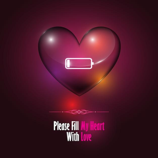 Vidro transparente com coração e sinal de bateria fraca com conceito do dia dos Namorados Vetor Premium