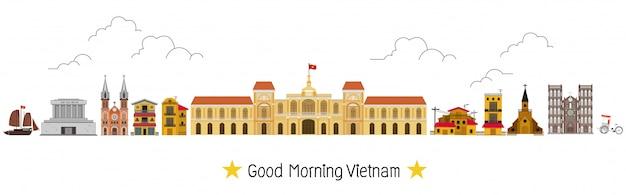 Vietnã e marcos e lugar de viagem, templo Vetor Premium