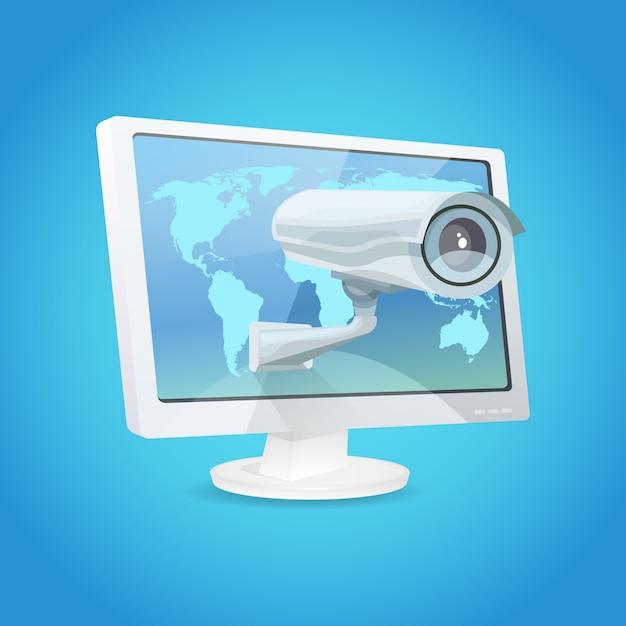Vigilância câmera e monitor Vetor grátis