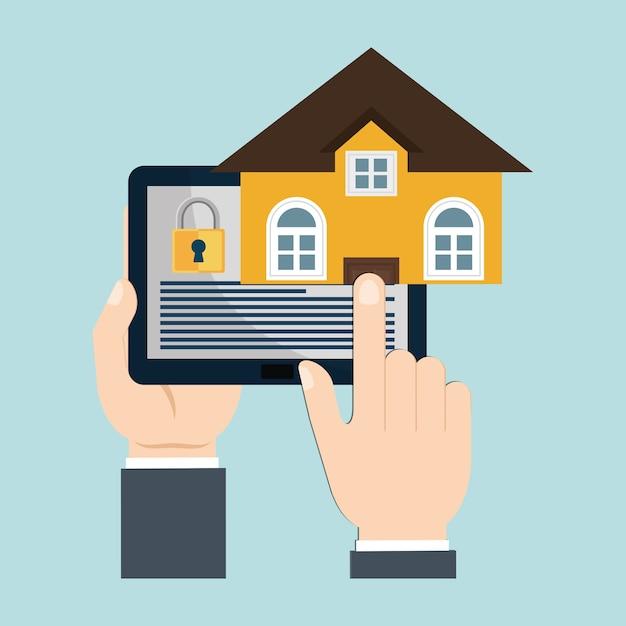 Vigilância de tecnologia de segurança em casa Vetor Premium