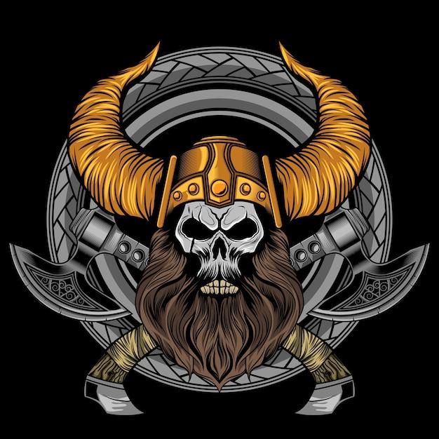 Viking beard skull machados Vetor Premium