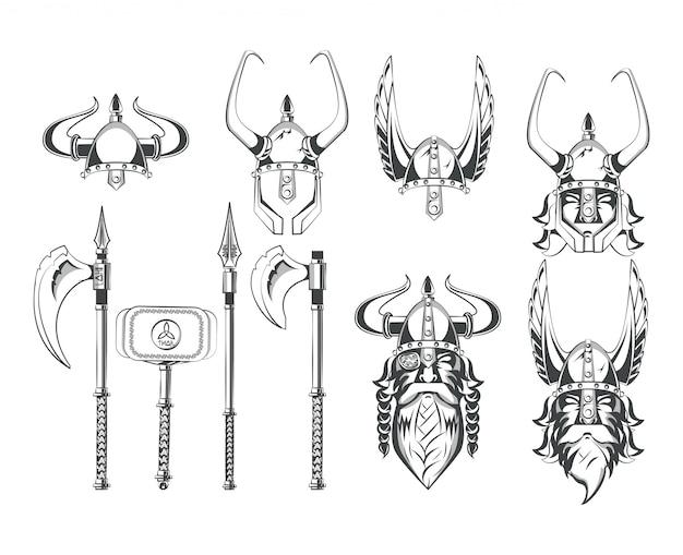 Vikings warriors conjunto de desenhos Vetor grátis